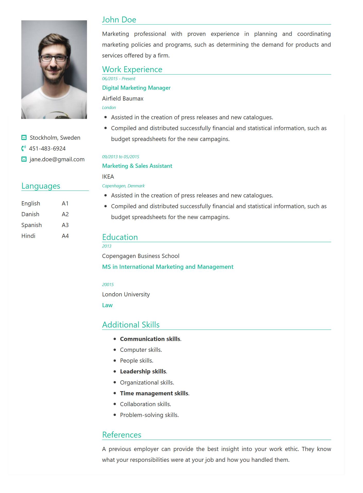 FreeCVNow Resume Format Green