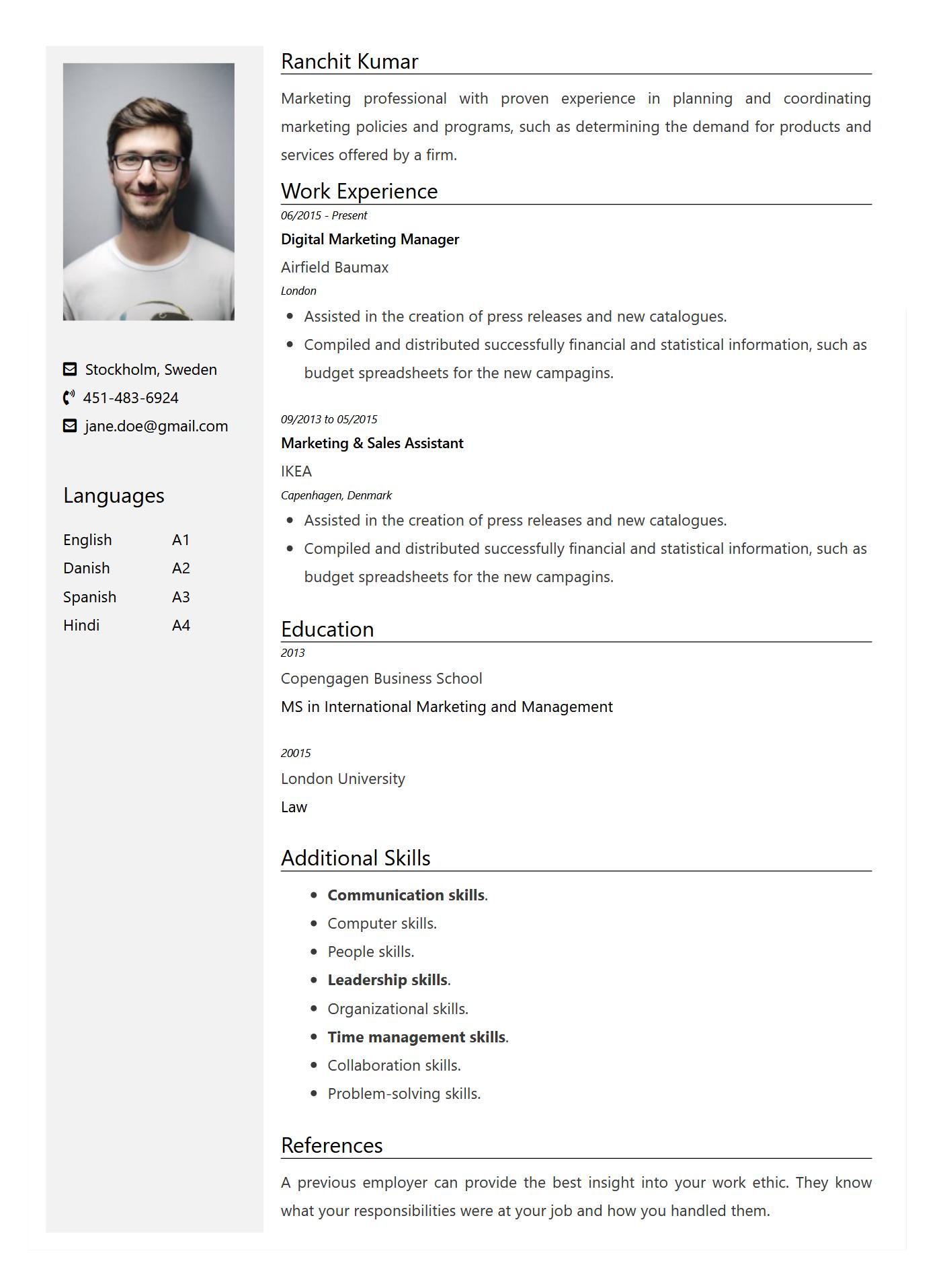 FreeCVNow Resume Format Grey